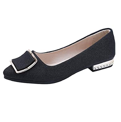 fb1eede689e Boomboom Women Shoes Womens Classic Pointy Toe Ballet Flats Slip On Suede Casual  Work Flat Shoes Black  Buy Online at Low Prices in India - Amazon.in