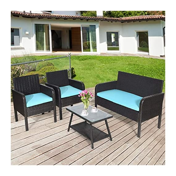 Tangkula 4 Piece Patio Outdoor Conversation Set with Glass Coffee Table, Loveseat & 2 Cushioned Chairs Garden Lawn Rattan Wicker Patio Chat Set Outdoor Furniture Set (Blue) (1) - Sturdy Frame & Hand-Woven Rattan: Our 4-piece patio furniture set is made of superior steel and premium PE rattan that ensures the stability and durability. And the exquisite craftsmanship improves overall weight capacity. Besides, the set can withstand moderate wind or rain. Ergonomic Chair with Waterproof Cover: At the front of the armrest, the corner is designed in round which accord with your line of hand and wrist. And the height of armrest is not too high or too low to relax your hand or arm. What's more, the zippered cover of the cushion can be removed from cushion and cleaned conveniently. Glass Top Table with Shelf: The tempered glass is fixed by 4 suckers and it won't move freely. And the top is removable so that it is easy to clean if the top is dirty. Besides, the lower shelf can provide additional storage space for you to store some sundries. At the bottom of the table, there are 4 pads to prevent slip and protect ground. - patio-furniture, patio, conversation-sets - 61LQYyIC2FL. SS570  -