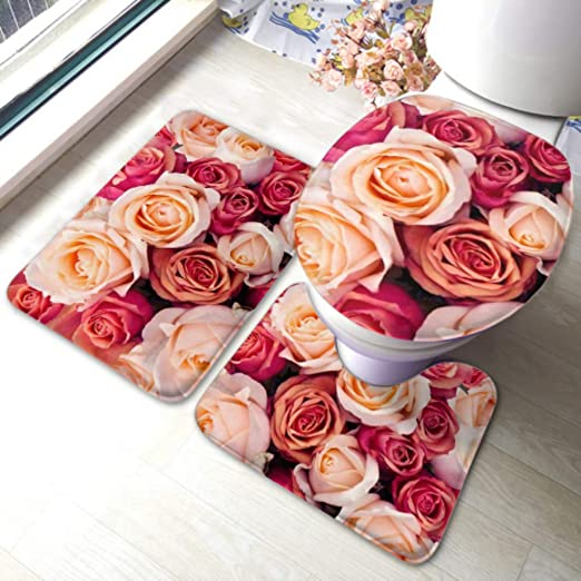 amazon com lyaoe toilet rug set background pink orange peach roses non slip bathroom rug mat sets toilet pad cover bath mat and toilet lid cover home kitchen amazon com