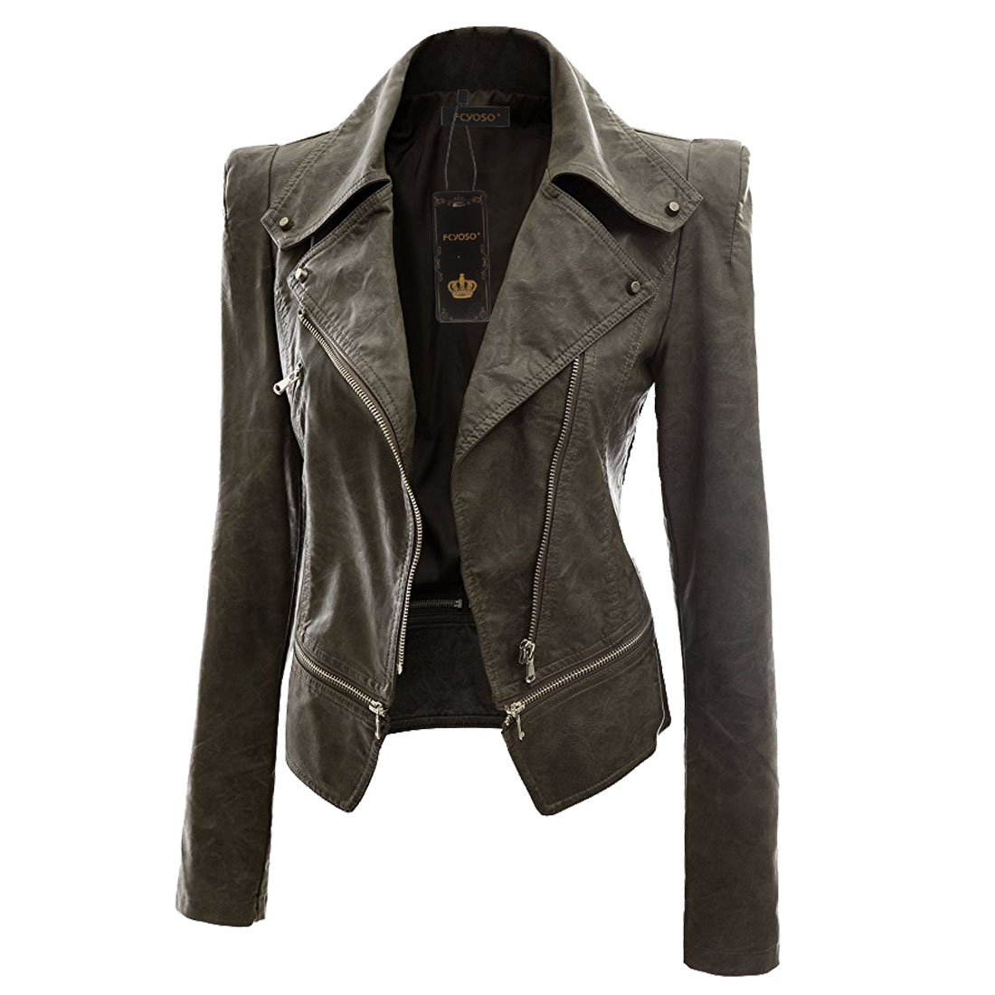 accd09be9 FCYOSO Women's Faux Leather Motorcycle Power Shoulder Jacket
