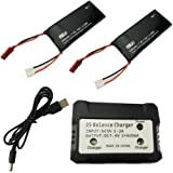 Fytoo 2 X 7. 4V 610mAh 15C Lipo Battery + 1 Battery Charger accessories For Hubsan X4 H502S H502E Quadcopter To Increase the Flight time(20mins)