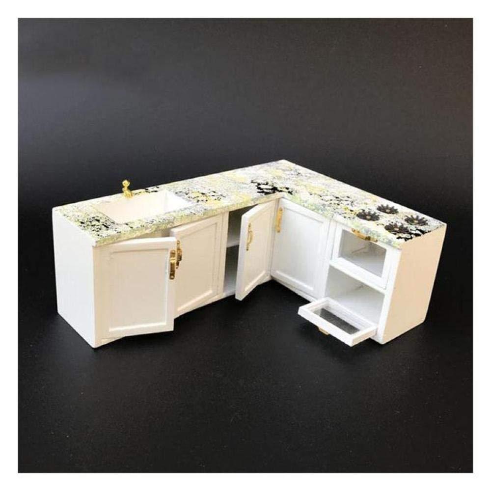 White FairOnly 1 12 Dollhouse Furniture toy for dolls white Miniature refrigerator stove kitchen sets pretend play toys for girls White