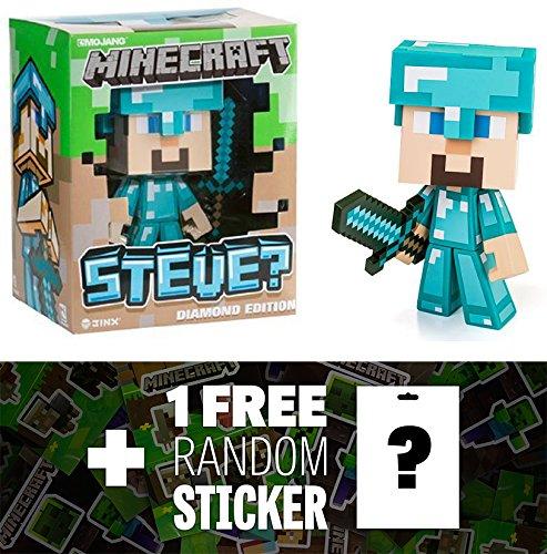 "Steve: ~6"" Jinx Minecraft Diamond Edition Figure Series + 1 FREE Official Minecraft Mini-Sticker Sheet Bundle"