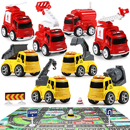 Geyiie Kids Fire Truck Toys, Construction Truck Toys and Rescue Vehicles Fire Engine Cars, Pull Back Car Paly with Mats…