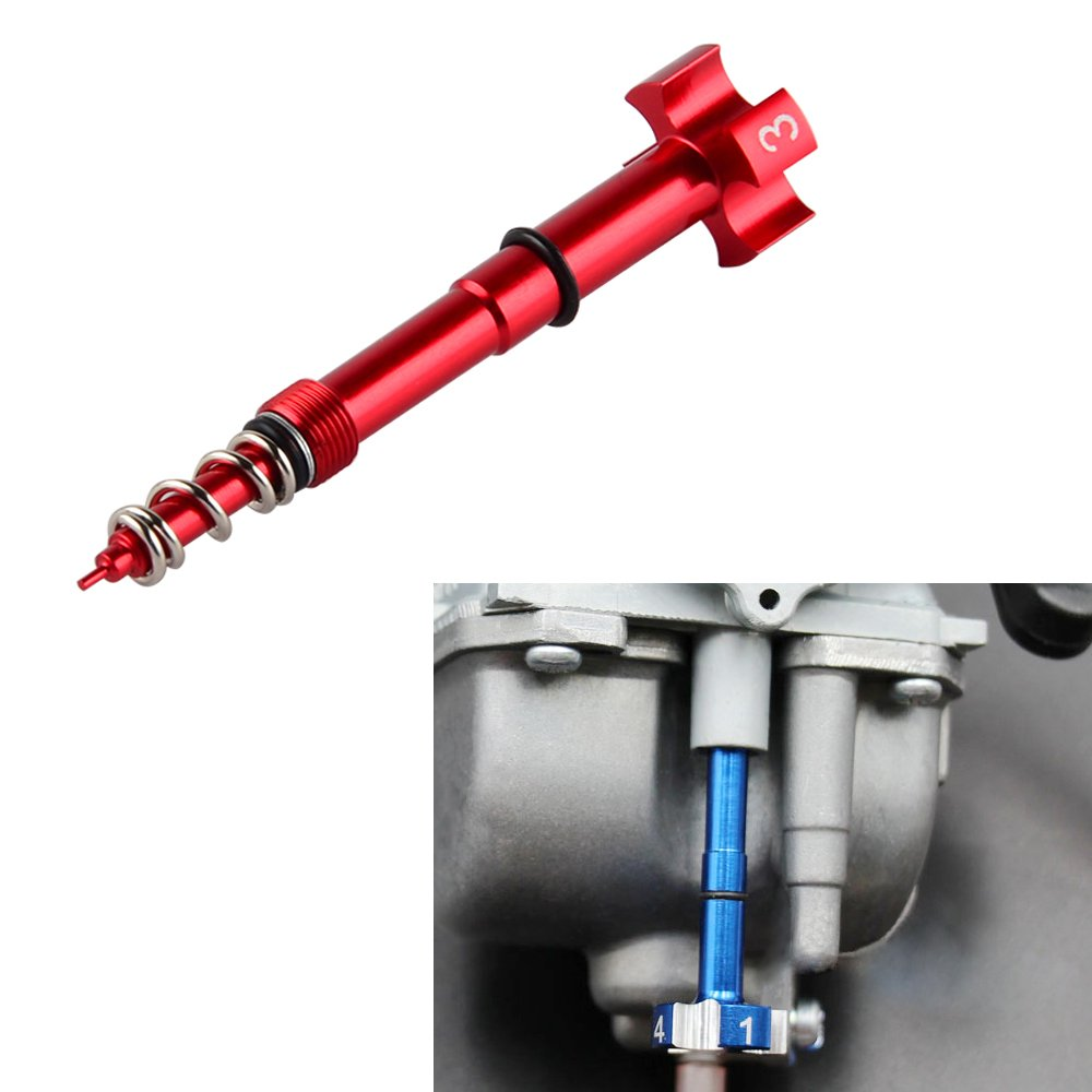NICECNC Motorcycle Red Air/Fuel Mixture Screw Adjuster Keihin FCR Carb for Honda Yamaha Kawasaki Suzuki CRF YZF WR KXF KLX RMZ