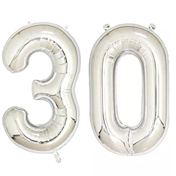 40inch Silver Foil 30 Helium Jumbo Digital Number Balloons 30th Birthday Decoration For Women Or