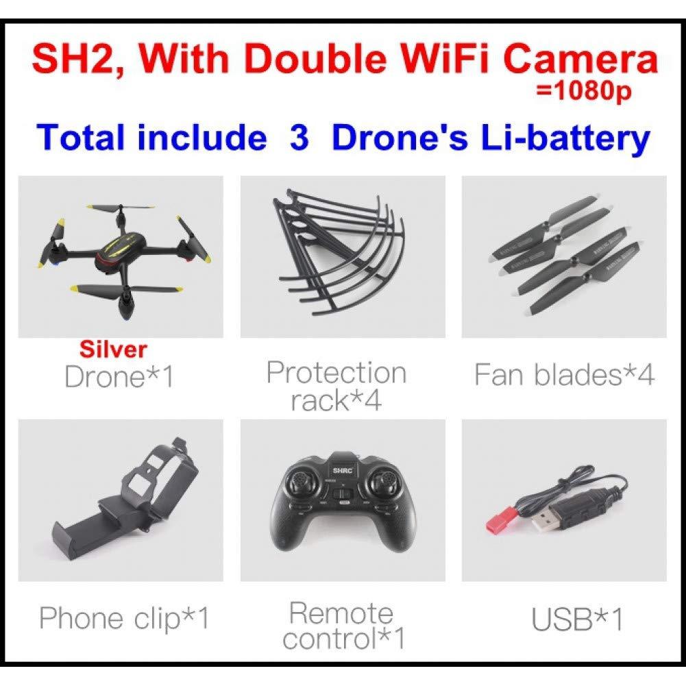 salida plata Sh2 Double Double Double 3b ZWRJZNB Drone Drone UAV 20Min Una Tecla para Quitar La Iluminación Led Cámara 1080P HD 360 Grados De Velocidad De Rodadura Ajustable Quadcopter giocattoli  descuento de ventas en línea