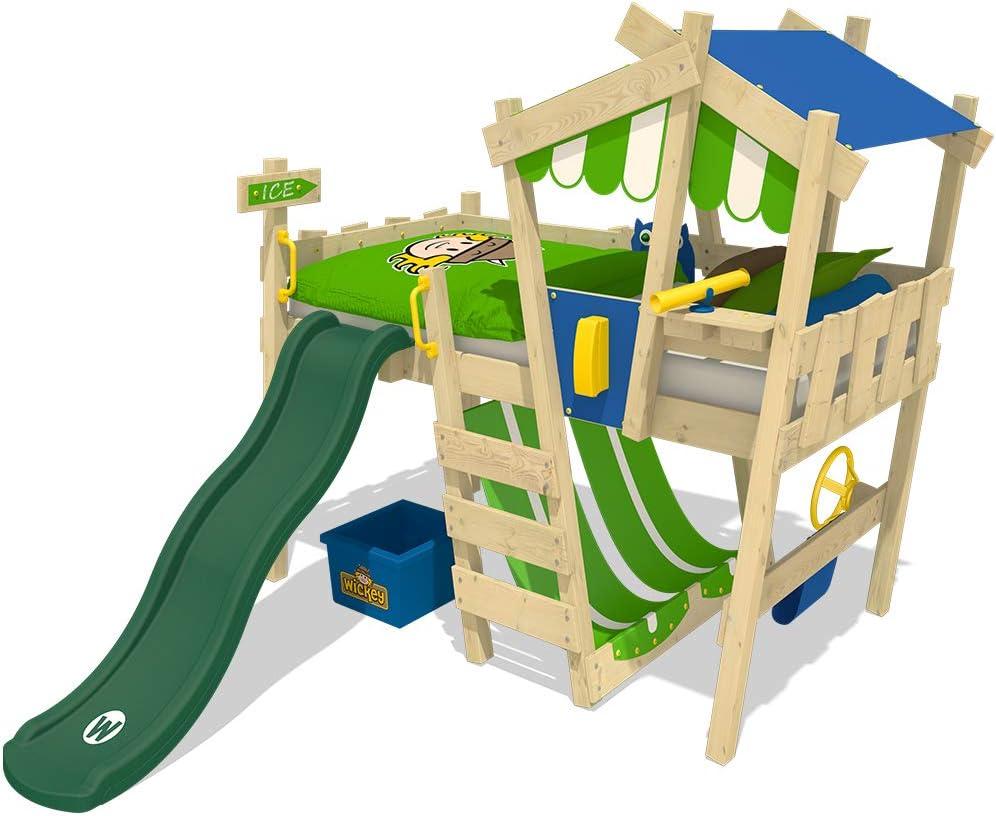 con scivolo e torre con rete a rullo bianco laccato XXL Discount Lettino per bambini con scivolo letto a soppalco Nik 90 x 200 cm in legno di faggio massiccio