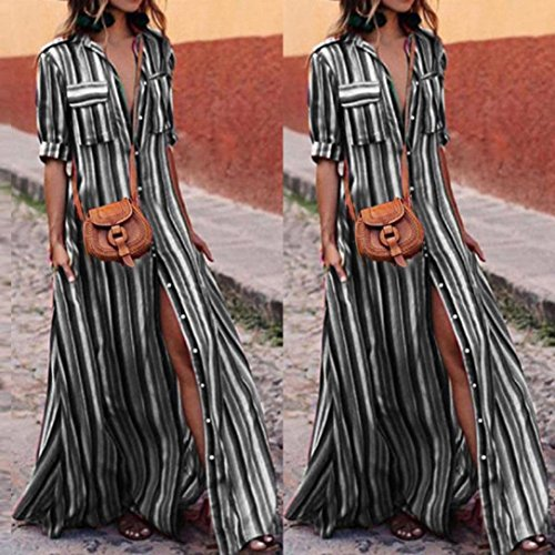 AMOFINY New Women Boho Striped Multicolor Loose Button Beach Party Long Dresses by AMOFINY-Dress (Image #8)