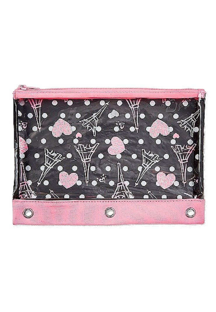Justice for Girls Paris Print Binder Pencil Case Pouch