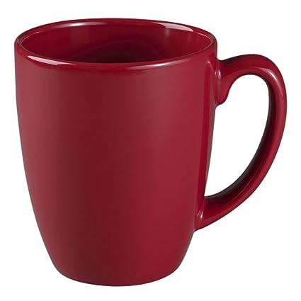 amazon com corelle livingware 11 ounce stoneware mug red coffee