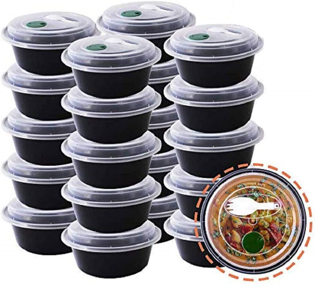 50-Pack Meal Prep Prepping Plastic Microwavable Food Containers With Lids & Spork 1 Compartment Reusable Storage Lunch Boxes BPA-Free Food Grade Freezer Dishwasher Microwave Safe Round, Black 24 Oz