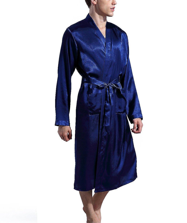 Admireme Mens Satin Kimono Robe Spa Bathrobes Loungewear Sleepwear Long Bathrobe Lightweight Silk Nightwear
