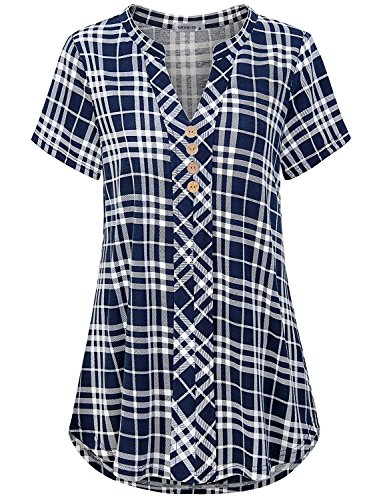 - MOQIVGI Short Sleeve Shirts for Women,Female Plus Size V Neck Blouses Versatile Fashion Swing Casual Tartan Plaid Print Knit Henley Basic Summer Tunic to Wear with Leggings Blue White XX-Large