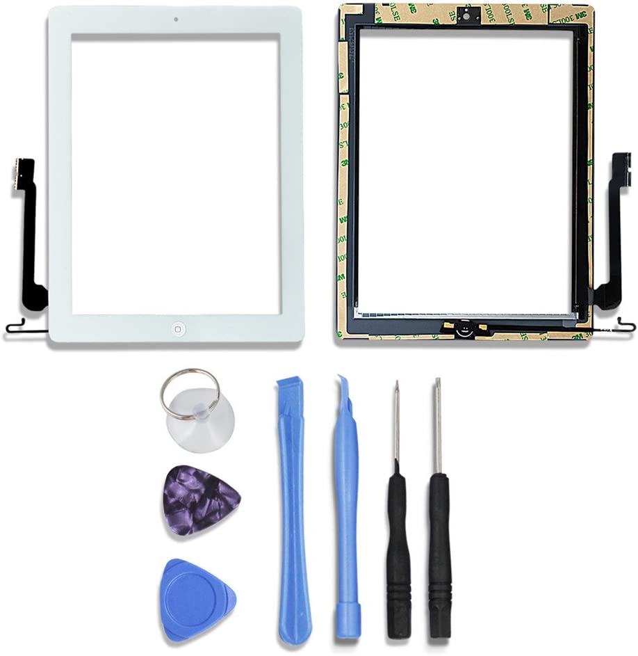 Digitizer for Ipad 4 with Home Button,Tongyin Touch Screen Repair Kits Included Professional Repair Tools and Pre-installed Adhesive(White)