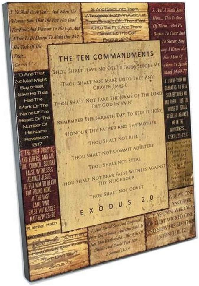 Spirit & Truth Home Decor The Ten Commandments Wall Art Sign Sealed for Scratch Resistance with Gloss Finish 22.5 x 17.25 x 1.25