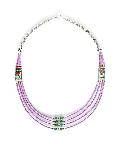 4f79a1ba3fea TIBETAN SILVER Color Azul Turquesa Y ARRECIFES DE Piedra DE LA Piedras  Preciosas JOYERÍA Artesanal Collar