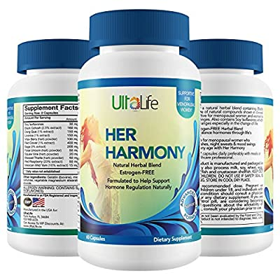 Her Harmony #1 BEST MENOPAUSE SUPPLEMENTS w/ Black Cohosh - Relief From Mood Swings, Irritability, Hot Flashes, Night Sweats & Weight Gain - Estrogen-Free Reset To Balance Hormones & Feel Good Again