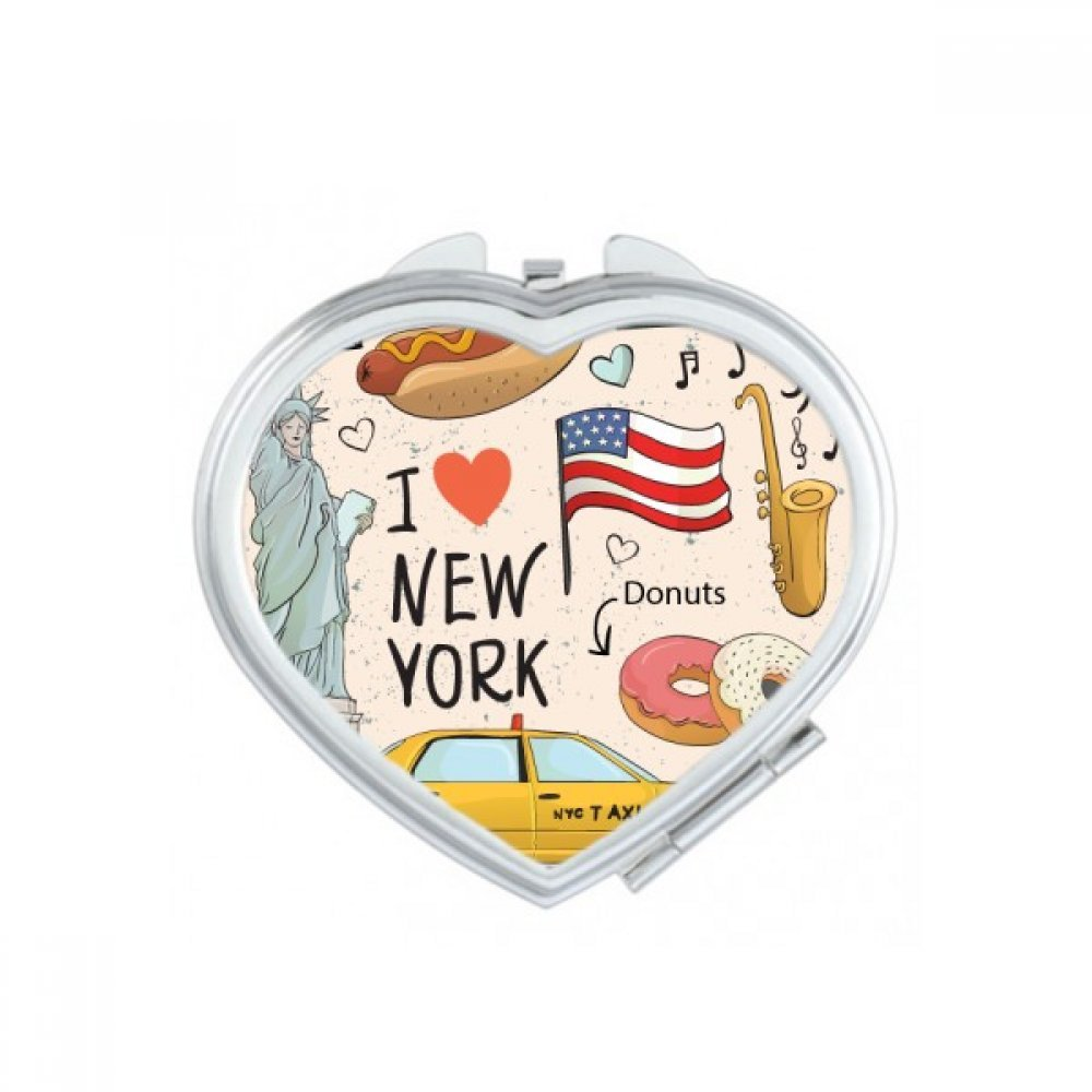 I Love New York Hot Dog Donuts America Texi Heart Compact Makeup Pocket Mirror Portable Cute Small Hand Mirrors Gift