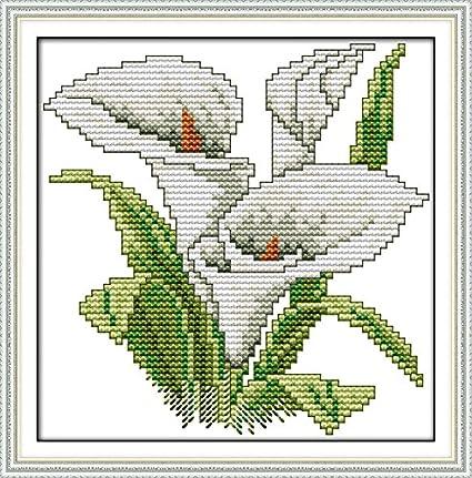 Chreey - Kit de Punto de Cruz | Flor de la Felicidad - Lirio de ...