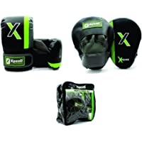 Xpeed Men's Combo Set of Curved Focus Punching Pads with Gloves (Multicolour)