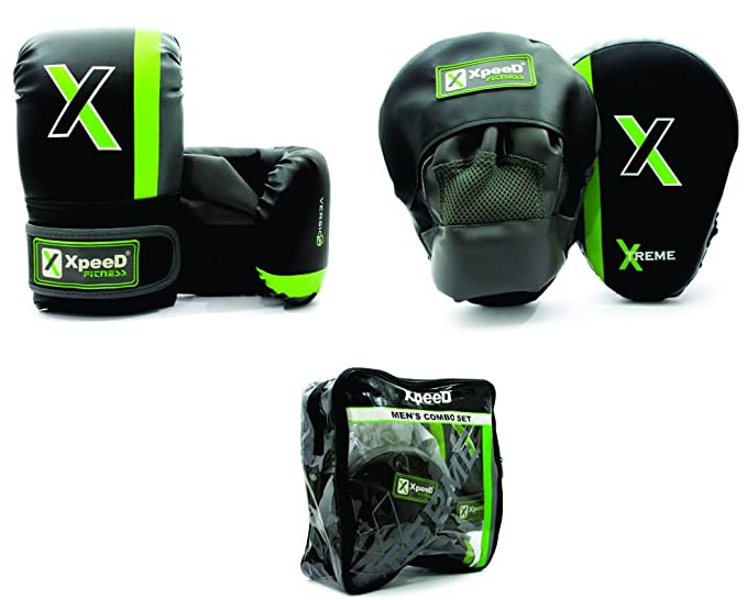 Xpeed Men's Combo Set of Curved Focus Punching Pads with Gloves  Multicolour  Bag Gloves
