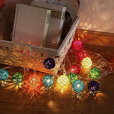 Cadena De Luces Decorativas Chickwin Algodón Bolas Guirnalda Secuencia De La Luz Sepak De Luces Bebe Casa Dormitorio Decoración Boda Fiesta De