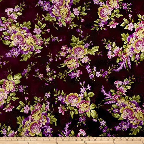 Maywood Studio Elegant Floral Deep Aubergine, Fabric by the Yard