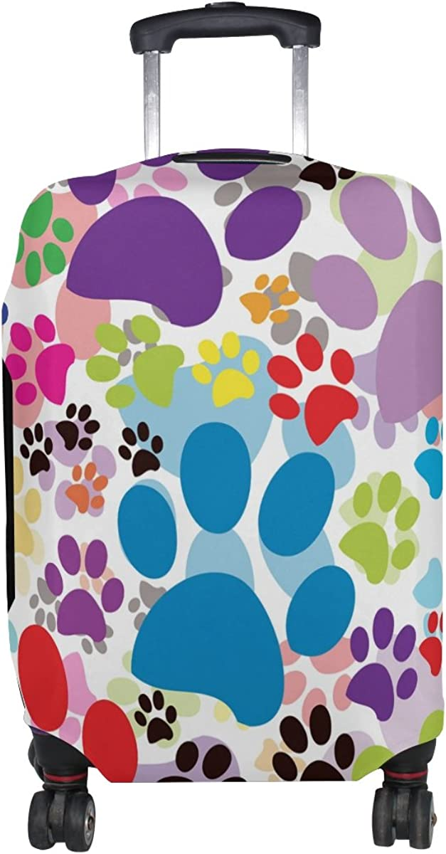 GIOVANIOR Colorful Cat Dog Paws Footprints Luggage Cover Suitcase Protector Carry On Covers