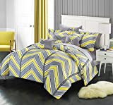 Chic Home 10 Piece Warrick Chevron and Geometric printed REVERSIBLE Queen Bed In a Bag Comforter Set Yellow Sheets set and Deocrative pillows included