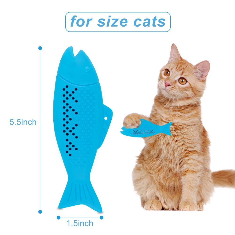 Refillable Catnip Creative Cats Interactive Teeth Cleaning Chew Toy Durable Silicone Fish Shape Cat Toothbrush Catnip Toys Pet Molar Stick for Kitten 2 Pack