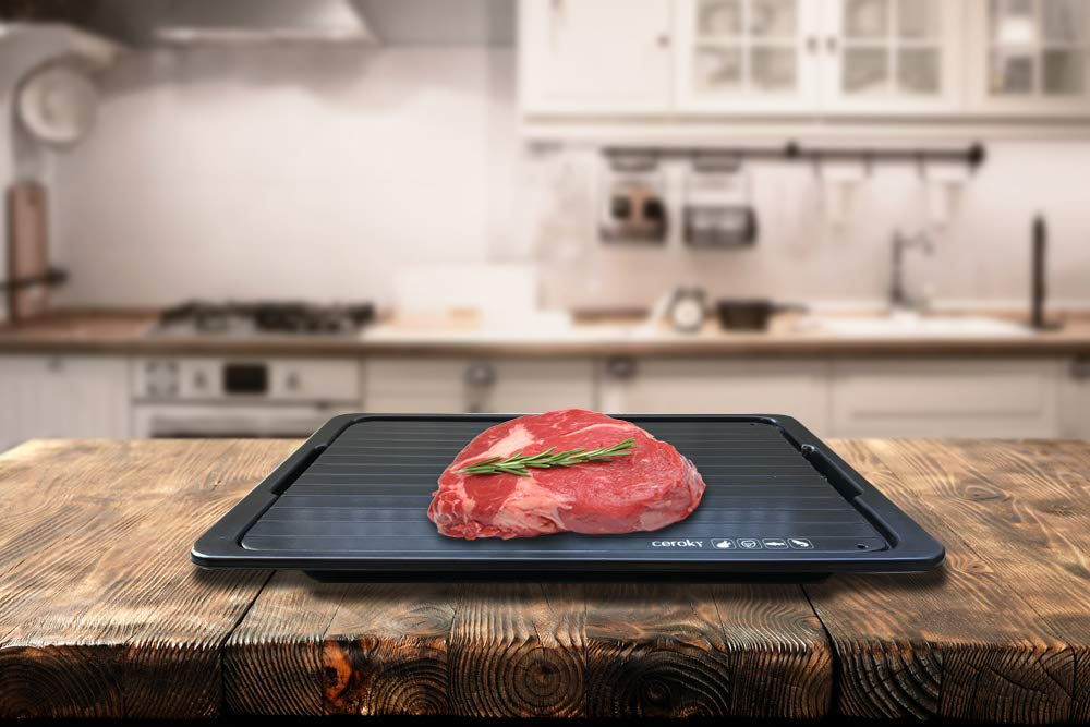 Rapid thaw defrosting tray, quick and natural way to defrost frozen food such as chicken, meat, pork, fish. Premium Quality Large Size extra thick (3mm) & bonus silicon brush with Drip tray by Ceroky (Image #9)