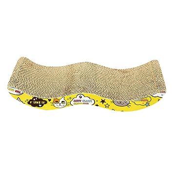 Jitong Durable Juguetes Interactivos de Mascotas Curvo Camas Sofás para Gatos Rascador de Cartón (Caqui, 45 * 21 * 7.5cm): Amazon.es: Hogar