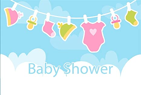 Laeacco Baby Shower Backdrops 8x6.5ft Vinyl Photography Background Hanging Baby Jumpsuit Hat Nipples Socks