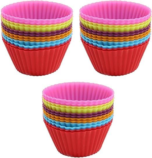 Round Mold Magik 36 PCS Reusable Non-stick Silicone Mini Baking Muffin Cupcake Chocolate Cups