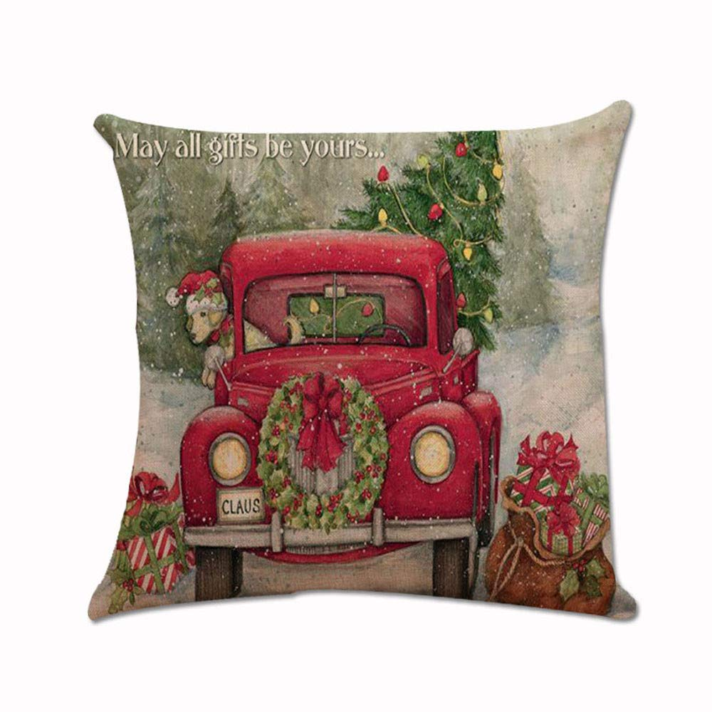 MaxFox Xmas Santa Claus Throw Pillow Cover Square Cotton Linen Pillow Case Cushion for Office Home Room Car Decor