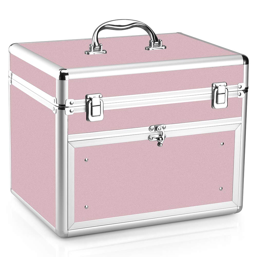 Makeup Case - Professional Portable Aluminum Cosmetic Storage Organizer For Nail Polish Artist With Drawer and Dividers Pink by NHSM
