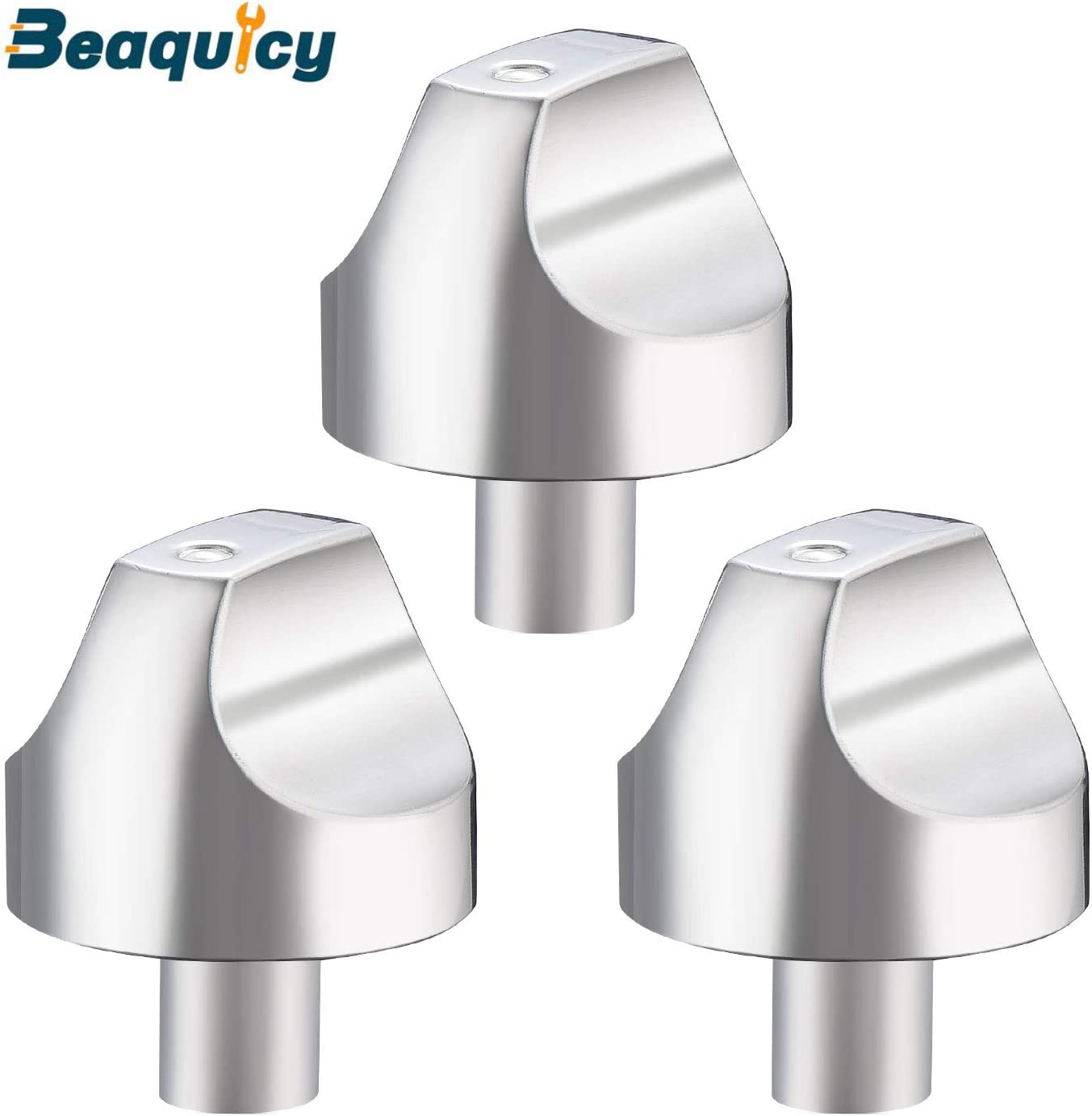 WB03X32194 WB03T10329 Cooktop Burner Knob Kit by Beaquicy - Stainless Steel Range Burner Control Knob 3 Pack Compatible with GE Replace Part Number WB03X25889,4920893