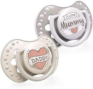LOVI 2x Chupete Silicona para Bebés de 0-3 meses | Cubierta Higiénica | Efecto Calmante | Protege el Reflejo Natural de Succión de Bebé | I Love Colección: Amazon.es: Bebé