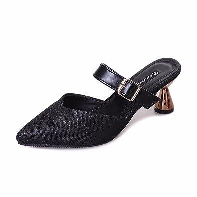 YUCH Ladies' Chaussons Baotou Boucle Sandales Élégantes Et Rugueux en Été,I,35