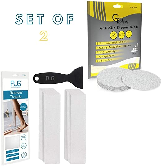 12, 1 Pack FUS Bathtub Stickers Non-Slip Shower Treads 12 Anti Slip Traction Grip Strips to Prevent Slippery Surfaces.