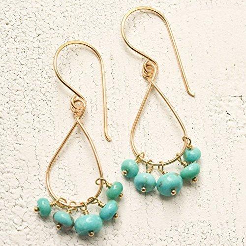 Stabilized Kingman turquoise earrings dangle 14kt gold-filled December birthstone