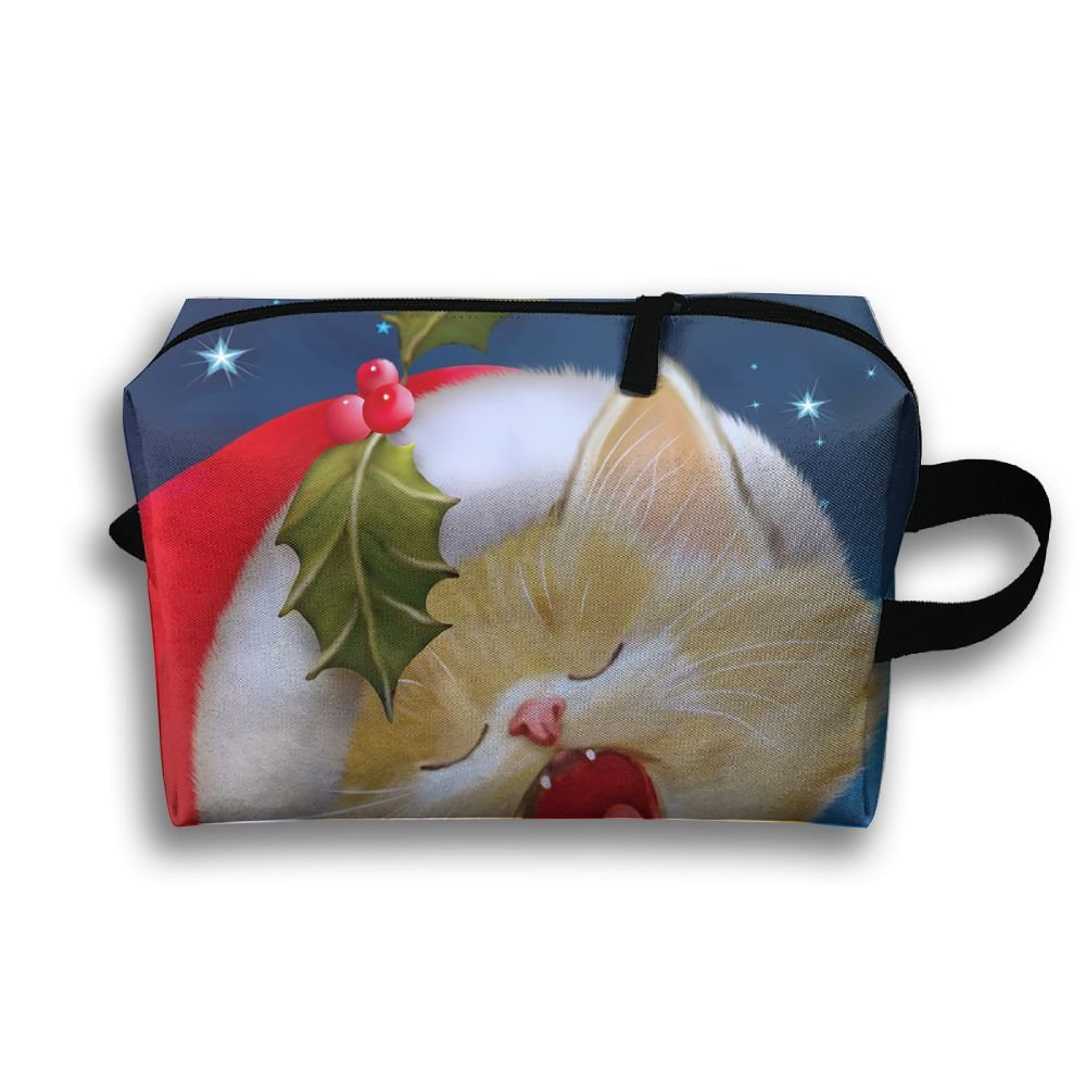 ポータブルメイクアップポーチTravel Hanging Organizer Bagクリスマス猫   B077TGNNYN