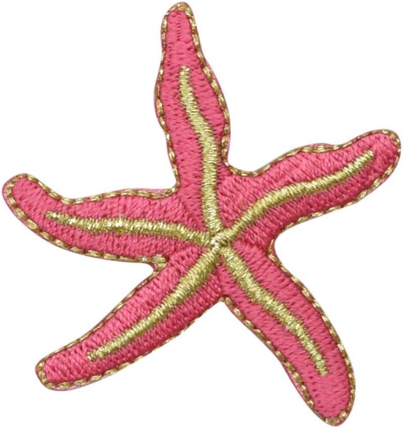 Mini Blue Starfish Patch Kawaii Pastel Crystal Gem Diamond Star Fish Ocean Self-Adhesive Sticker Applique No-Iron Lapel Craft Accessory