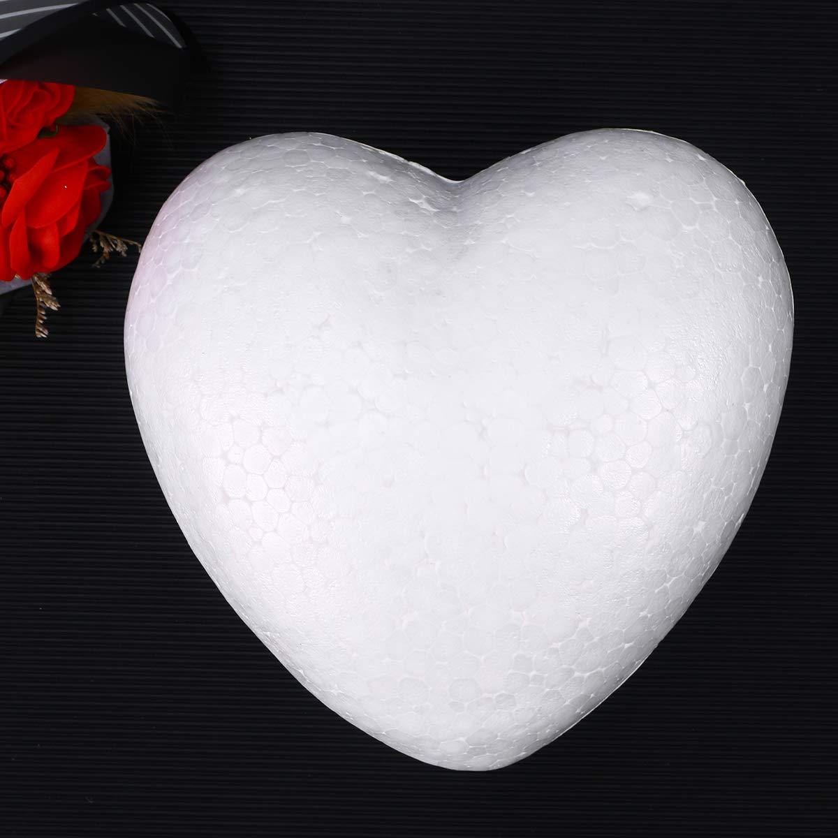 TOYANDONA Boule en Mousse de polystyr/ène en Forme de Coeur en Forme de c/œur en Forme de c/œur pour Arts et Artisanat Blanc utilisez des Ornements de Bricolage et des d/écorations de Mariage 15cm