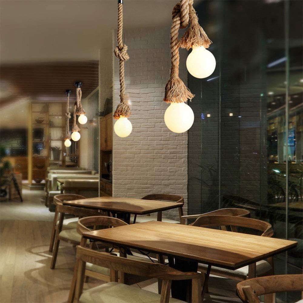 COUSON Vintage Cuerda de c/á/ñamo gruesa L/ámpara Colgante E27 Para el Restaurante Cafe Bar Decoraci/ón de Estilo Rural