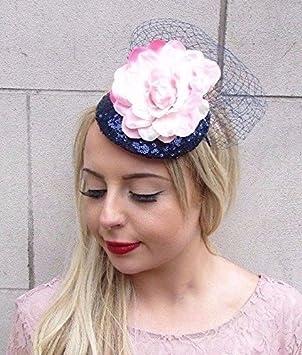 Starcrossed Boutique Navy Blue Light Blush Pink Flower Fascinator