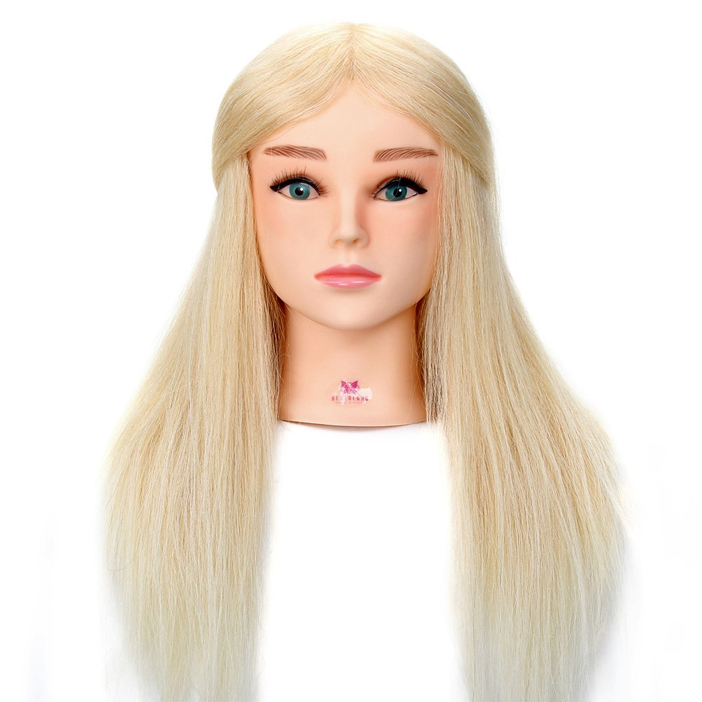 Neverland Training Mannequin Head 22 Inch Hairdressing For College and Professional to Practice Cutting Braiding Setting(Blue eye) NEVERLAND Beauty & Health