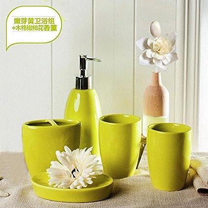 Moderno diseño de 5 piezas de cerámica Set de accesorios de baño, jabonera, porta