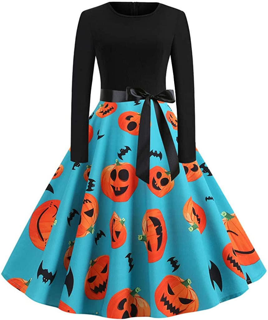 Prom Dresses for Women,Women Vintage Long Sleeve Halloween 50s Housewife Evening Party Prom Dress